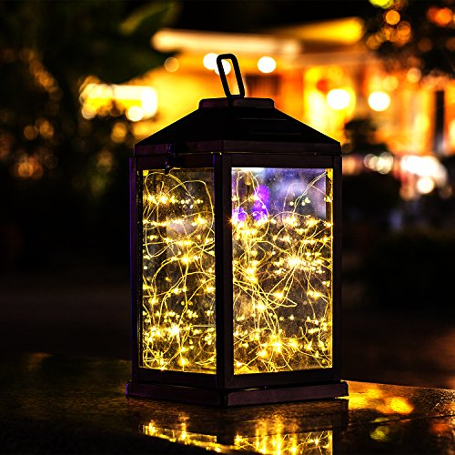 Solar Lantern Lights Metal Sunwind with 30 Warm White LEDs Fairy String Lights Outdoor Decorative Table Lamp (Black-11.4'H)