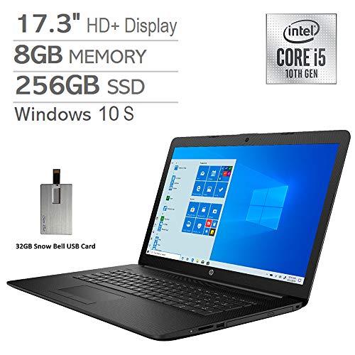 2020 HP Pavilion 17.3″ HD+ Laptop Computer, Intel Core i5-1035G1 Processor, 8GB RAM, 256GB PCIe SSD, Intel UHD Graphics, DVD-RW, HDMI, 720p HD Webcam, Windows 10S, Black, 32GB Snow Bell USB Card