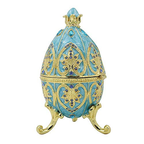 (Hophen Enamelled Egg Trinket Box Hand-Painted Crystal Decorative Hinged Jewelry Ring Holder Storage Box, Alexander Palace Collection, Nevsky Romanov Style Collectible (Light Blue))