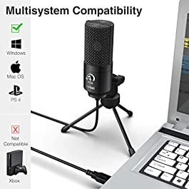 USB Microphone,Fifine Metal Condenser Recording Microphone for Laptop MAC or Windows Cardioid Studio Recording Vocals…