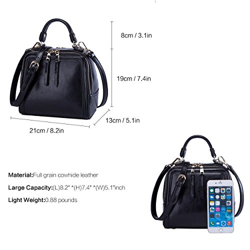 Handbag Crossbody BOYATU Womens Leather Mini Purse Square Bag Satchel Black Shoulder 4aHwqHE