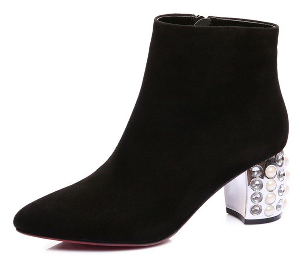 QZUnique Women's Ladies' High Heels Genuine Leather Short Boots Soft Shoes with Glass Diamond Decor
