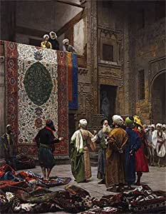 Gerome (la alfombra comerciante, c.1887) reproducción de impresión de Lienzo (24x 18,7en) (61x 47cm)