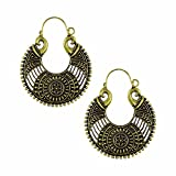 Efulgenz Indian Vintage Retro Ethnic Dangle Gypsy Oxidized Gold Tone Boho Hoop Earrings for Girls and Women Love Gift