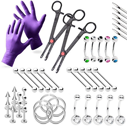 BodyJewelryOnline 43-Piece Piercing Kit Lip, Belly, Eyebrow, Tongue, Ear Piercing Jewelry Needles,Gloves and Tools Included