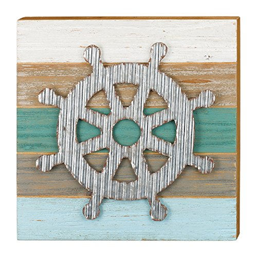 56 Metal/Wood Ships Wheel 11.75 Inches X 1.5 Inches X 11.75 Inches Sanibel Wall Decor - Home Environment (Sanibel Metal)