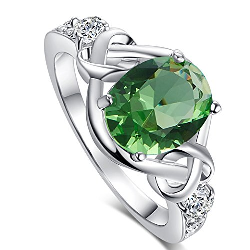 Veunora 925 Sterling Silver 8x10mm Oval Cut Green Amethyst and White Topaz Filled Ring Jewelry for Women Size 10 ()