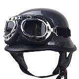 QHZ Adult Open Face Harley Retro Motorcycle Helmet Imitation Carbon Fiber Beanie Retro Half Helmet Jet Cruiser Goggles Helmet DOT Certified Bicycle Scooter Half Helmet,XL