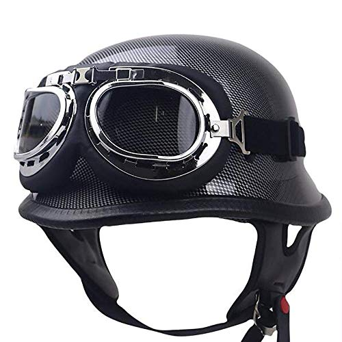 Retro Motorcycle Half Helmet - Black Self-Defense Military Steel Half Shell Motorcycle Helmet Scooter Jet Buoy Helmet Pilot Cruiser Adult Bicycle Semi-Helmet Helicopter Half Helmet Knight,1,XXL