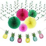 Tropical Hawaiian Party Decoration Kit Summer Beach Event Backdrop Wedding Baby Shower Hanging Swirl Decoration SUNBEAUTY (Style 3)