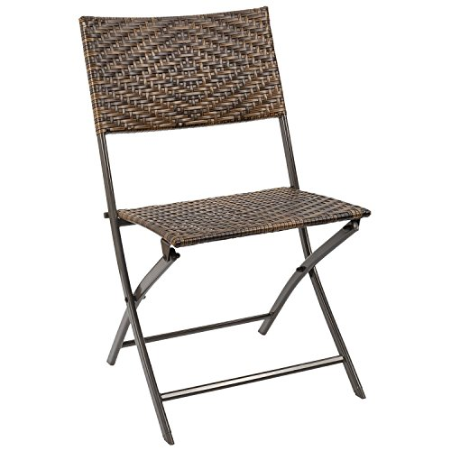 Homall Rattan Folding Chairs Outdoor Patio Wicker Chairs Patio Dining Chair Space Saving Camping Chair Pool Garden Beach Lawn Foldable Chair