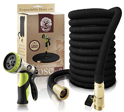 Garden Hose 50Ft Expandable Hose By LOVEL - ALL NEW Flexible Hose, Nozzle 9 Settings, 3/4