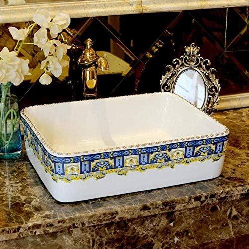 長方形ヨーロッパスタイルの洗面シンクアートカウンタートップセラミックバスルームのシンク浴室船舶のシンク