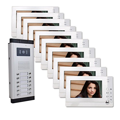 Nine Units Apartment Video Intercom with Auto Visitor Photo Memory Doorbell Security Video Door Phone Audio Visual Intercom Entry Access System 9