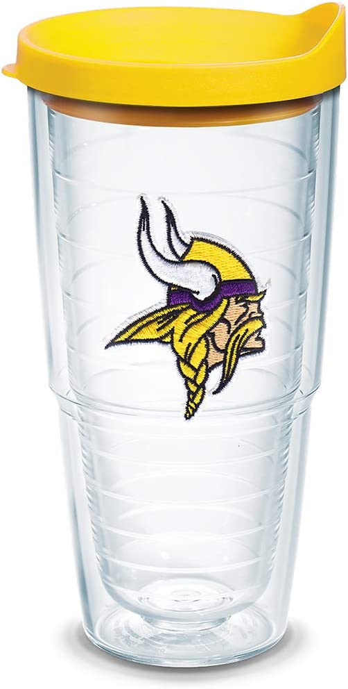 Tervis NFL Minnesota Vikings Primary Logo Tumbler with Emblem and Yellow Lid 24oz, Clear
