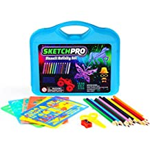 55-PC Stencil Drawing Kit w/ Case - FULL Set of Drawing Stencils for Kids Art - Educational Toy - Kids Gift w/ 30 Plastic Stencils Including Alphabet Stencils, Letter Stencils, Animals, Shapes & More!