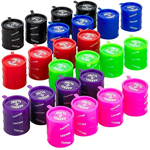 Kicko Small Barrel of Slime - 24 Pack Assorted Colors - Container 2 Inches - for Kids Boys and Girls, Party Favor, Fun, Toy, Novelty, Prize ()