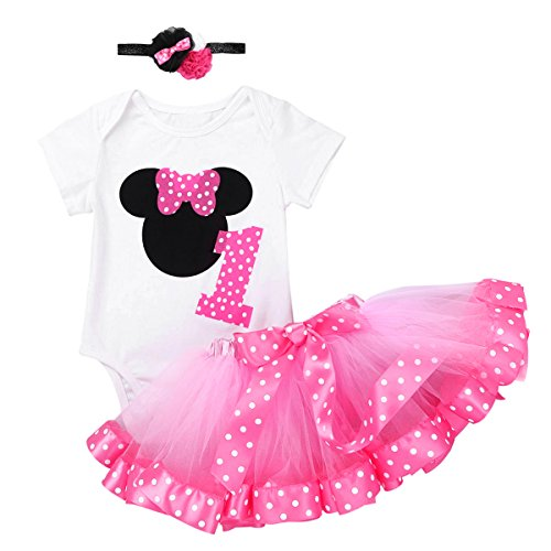dPois Infant Toddlers Baby Girls 1st/2nd Birthday Party Cartoon 3 Pieces Outfit Romper Polka Dot Tutu Skirt with Headband Set White&Pink Number 1 12-18 Months