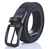 Weifert Belt for Men Braided Stretch Belt/No Holes Elastic Fabric Woven Belts (36-38'' Waist, Black Buckle)