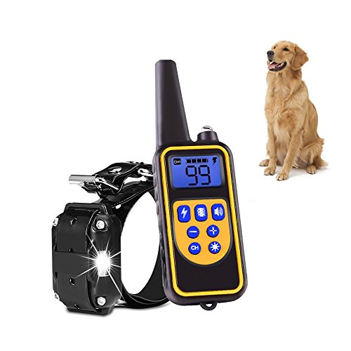 Shock Collar for Dog Training Collar with Remote 800 Yards Pet Trainer Rechargeable and 100% Waterproof 1-99 Level of Shock and Vibration by YIDA