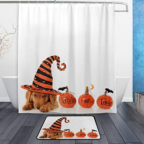 SZZWY Halloween Pumpkins Background Pattern Shower Curtain Set 3D Printing Waterproof Coated Polyester Fabric Bathroom with 12 Hooks 71 inches Indoor Floor Mat Bath Rugs 60x40cm]()