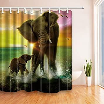 Watercolor Elephant Lover Bathroom Fabric Shower Curtain Set With Hooks 71Inches