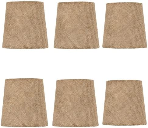 Upgradelights Set of Six-5 Inch Burlap Drum Chandelier Shade Mini Lamp Shade Natural Burlap