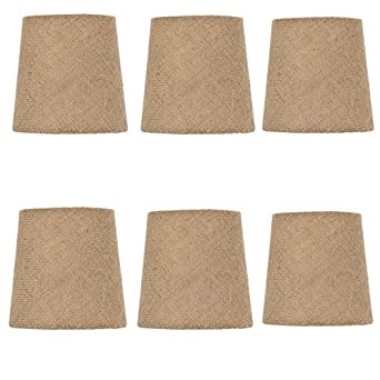 Mini Shades For Chandelier: Upgradelights Set of 6 Rolled Edge Burlap Drum Chandelier Shades 5 Inch Dia  - - Amazon.com,Lighting