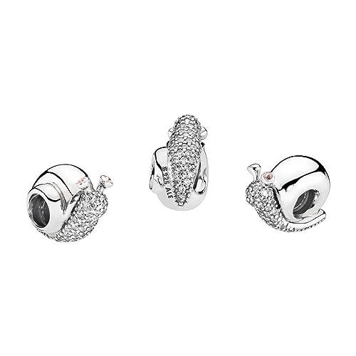 Pandora Sparkling Snail Pink Silver Charm 797063CZ