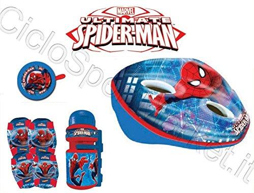 Tienda 2018 Kit Spiderman niño niño bicicleta casco + Timbre + Botella Botella Botella + rodilleras  Con precio barato para obtener la mejor marca.