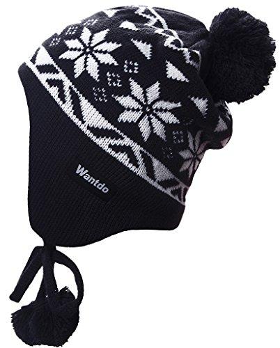 Earflap Hat Knitting Pattern (Wantdo Unisex Knitt Earflap Hat Winter Ski Hat Knit Cap with Pom)