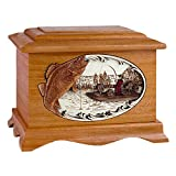 Wood Cremation Urn - Mahogany Walleye Fishing Boat Ambassador