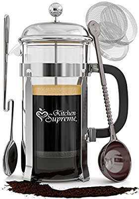 French Press Coffee & Tea Maker Complete Bundle | 34 Oz | Best Coffee Press Pot with Stainless Steel & Double German Glass by Kitchen Supreme