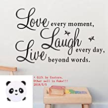 "Wall Sticker Live Love Home Decor Wall Art For Kids Home Living Room House Bedroom Bathroom Kitchen Office ""Live Every Moment,Laugh Every Day,Love Beyond Words"""