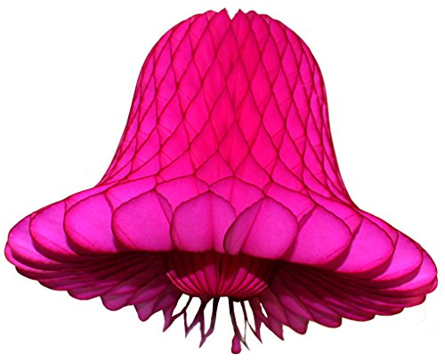 6-pack Cerise 11 Inch Honeycomb Tissue Paper Wedding Bell Decoration -