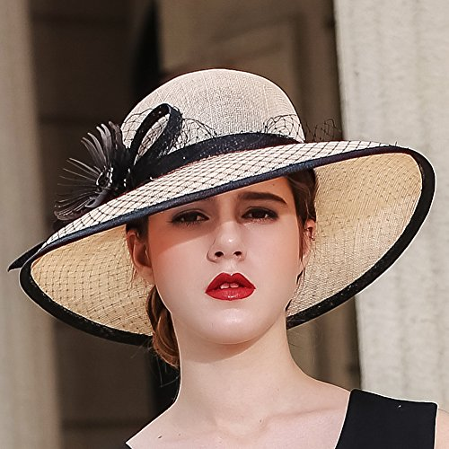 Koola s hats Champagne Brown 3 Layers Sinamay Kentucky Derby Church Sun  Summer Hats 67f51b2ed375