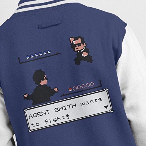 Jacket Varsity Men's white Agent Smith Fighter Pokemon Navy UcXwc4TqW