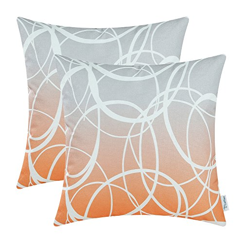 CaliTime Pack of 2 Soft Canvas Throw Pillow Covers Cases for Couch Sofa Home Decor Modern Gradient Ombre Circles Rings Both Sides 18 X 18 Inches Gray to Orange