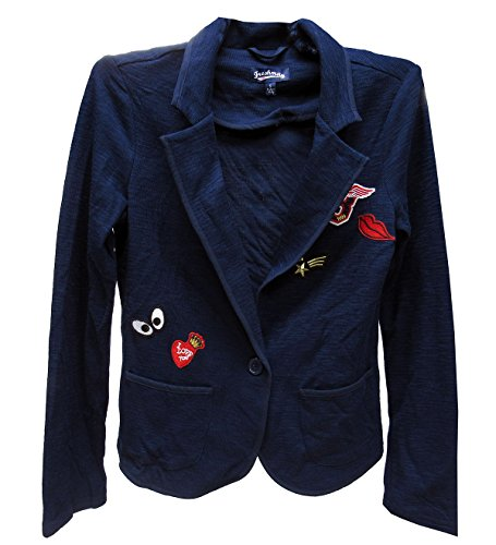 Freshman Womens Juniors Embroidered Patches Long Sleeves Casual Blazer Navy - Embroidered Blazer Cotton