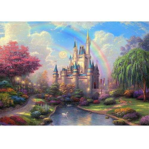 (Tuu 5D Partial Drill Diamond Painting by Number Kits,Rhinestone Pasted DIY Diamond Painting Cross Stitch for Home Wall Decor(Castle))