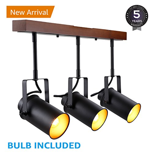 LEONLITE Track Light with Wood Ceiling Base, 3-in-1 LED Spotlight, Retro Industrial Style, 3 Bulbs Included, for Dining Rooms, Kitchens, Living Rooms, Restaurants, Pubs, 5 YEARS WARRANTY