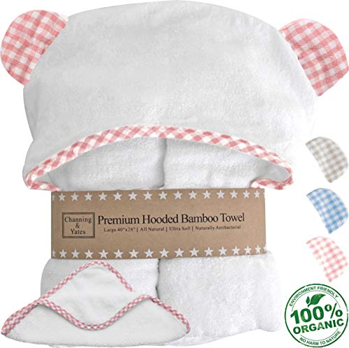 Channing & Yates - Premium Baby Towels for Girls - Hooded Girl Towel & Washcloth Set - Choose Pink, Blue, or Beige on White - Organic Bamboo Baby Towels with Hood - Baby Girl Bath Towels Gift (Pink) ()