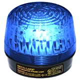 Seco-Larm SL-1301-SAQ/B Blue Lens Strobe Light, 10 Vertical LED strips (54 LEDs) increase visibility from various directions, Built-in 100dB programmable siren, Six different flash patterns, Adjustable flashing speed