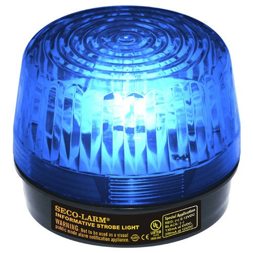 (Seco-Larm SL-1301-SAQ/B Blue Lens Strobe Light, 10 Vertical LED strips (54 LEDs) increase visibility from various directions, Built-in 100dB programmable siren, Six different flash patterns)