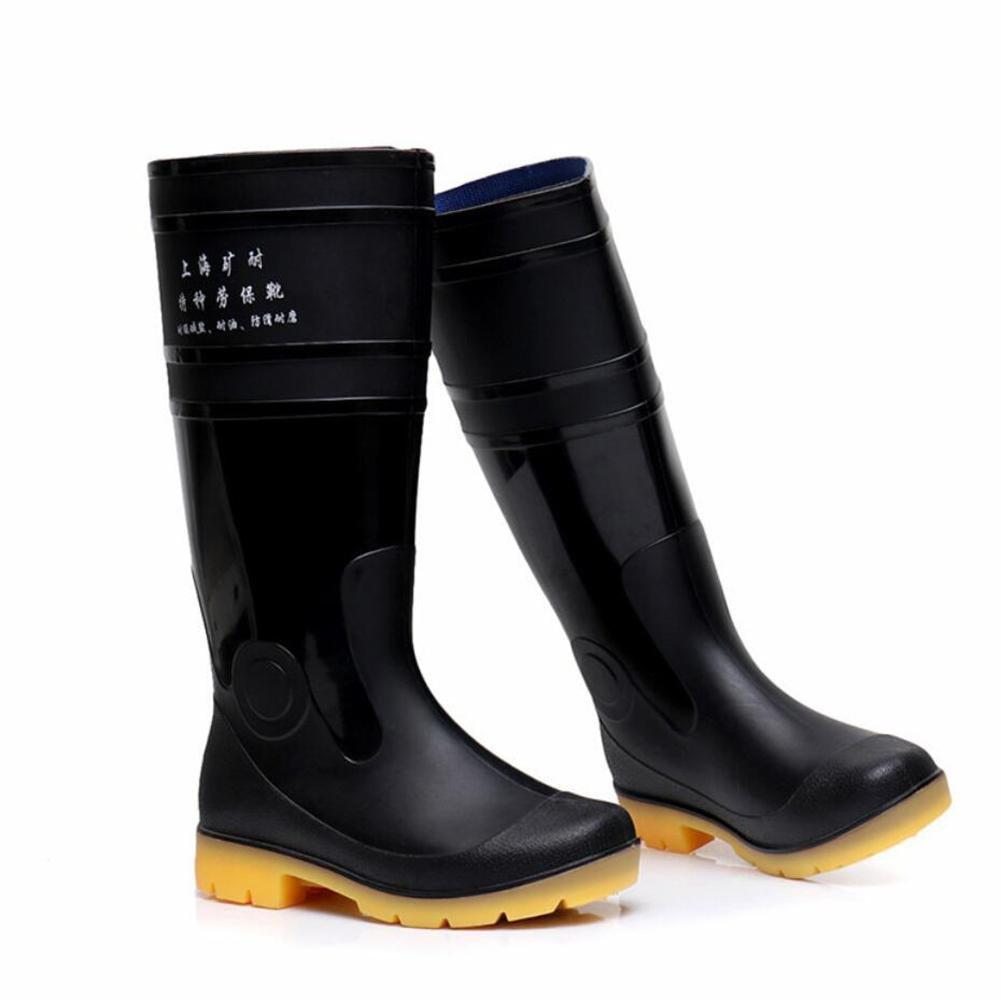 SISHUINIANHUA Fischerstiefel für Männer Hohe Stiefel am Ende der Stiefel Rutschfeste schützende Autowaschschuhe säureBesteändige Stiefel schwarz