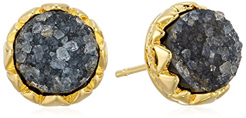 18k Yellow Gold Plated Bronze Genuine Gray Neutral Multi Druzy Crown Stud Earrings