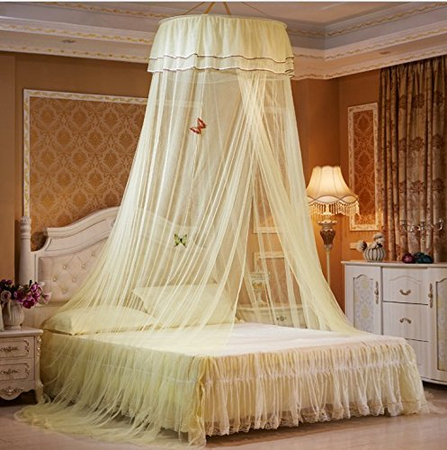 Home Cal Mosquito Netting for Bedroom, Insect Repellent, Antique Princess Style Bed Canopy, Suitable for Most Size Beds, Mosquito Net Mesh Curtains (Yellow) by Home Cal