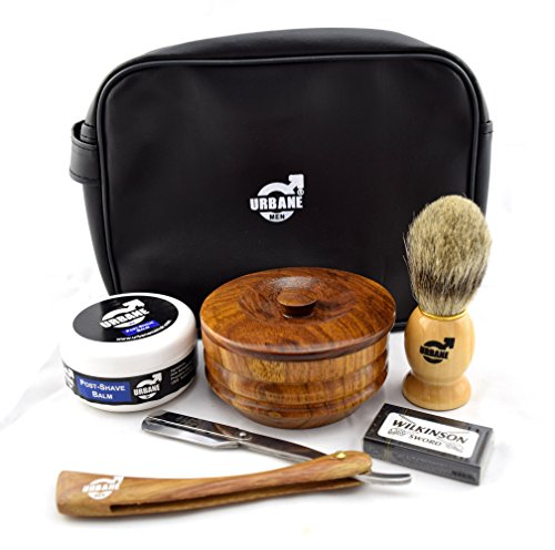 Urbane Men Traditional Shaving Complete Kit Gift Set - with Shaving Bowl, Soap, Brush, Shavette, Post Shave Balm & Leather Case