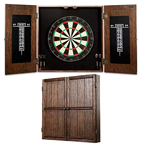 - Barrington Webster Bristle Dartboard Cabinet Set: Professional Hanging Classic Sisal Dartboard with Self Healing Bristles and Accessories - 6 Steel Tip Darts