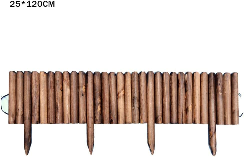 Wood Picket Garden Fence, Lawn Spiked Log Roll Border Easy Plug-in Fence Palisade Corrosion Resistant Wooden Edging For Flower Beds Lawns Paths,Edging Fencing For Outdoors Palisade, Beds, And Paths